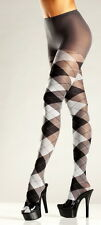 Adult Women Grey Black Argyle Tights Sexy Hosiery