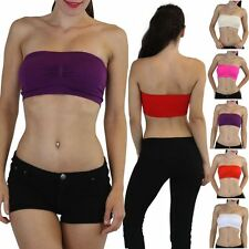 Women's Essential Seamless Yoga Padded Bandeau Tube Bra With Removable Cups