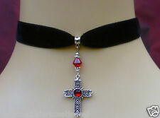 black velet choker/ necklace or earrings red beaded cross goth wicca victorian