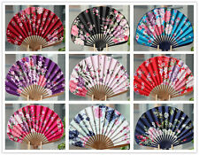 Chinese Japanese Hand Held Folding Chiffon Silk Bamboo Art Crafts Wedding Fan