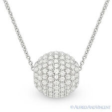 Round Cut Micro-Pave CZ Disco Ball Fashion Pendant 925 Sterling Silver Necklace