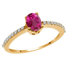 1.25 Ct Oval Pink Mystic Topaz White Topaz 14K Yellow Gold Ring