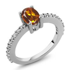 1.00 Ct Oval Orange Red Madeira Citrine White Created Sapphire 925 Silver Ring