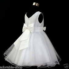 668 White Christening Pageant Prom Flower Girls Dresses SIZE 1 2 4 6 8 10 12 14Y