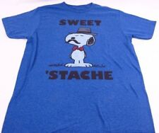 Mens NEW Sweet Stache Peanuts Snoopy Logo Graphic T-Shirt Size S M L XL