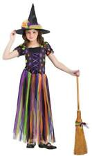 Girls Child Colorful Tatter Witchy Queen Witch Dress Costume W/ Hat
