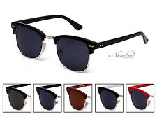 2 Pack Half Frame Clubmaster Style Sunglasses Vintage Retro Many Color Styles