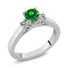 0.97 Ct Round Green Simulated Emerald White Diamond 925 Sterling Silver Ring