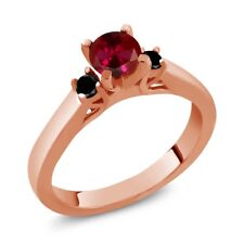 0.73 Ct Round Red Created Ruby Black Diamond 925 Rose Gold Plated Silver Ring