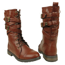 New Womens Mid Calf Strappy Lace Up  Military Combat Boots Brown Sz 5.5-10