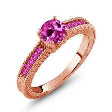 1.18 Ct Round Pink Created Sapphire Sapphire 925 Rose Gold Plated Silver Ring