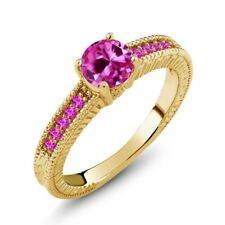 1.18 Ct Round Pink Created Sapphire Sapphire 925 Yellow Gold Plated Silver Ring
