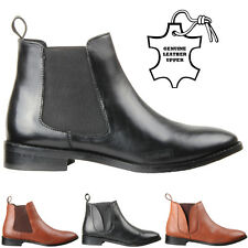 WOMENS LADIES LOW ANKLE SLIP PULL ON CHELSEA BROGUE LEATHER WINTER BOOTS SIZE