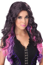 Color Cascade 80's Valley Girl Rock Star Adult Costume Wig - Blue or Purple
