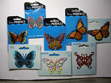 NEW 1 or 2 pc. BUTTERFLY APPLIQUES IRON ON  * Your Choice Designs * Butterflies