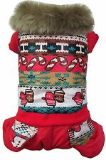 Warm Dog Pet Clothes outercoat Red Waterproof Snowflake Jumpsuit Pants winter