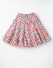 Mini Boden Girl's Brand New Petticoat Skirt Pink Red Floral Cotton Summer Tiered