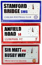OFFICAL FOOTBALL CLUB  -  STREET SIGN CANVAS LARGE WALL CLOCK BEDROOM GIFT XMAS