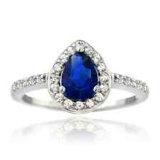925 Silver Created Blue & White Sapphire Teardrop Ring