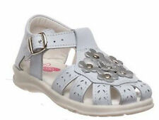 Girls Shoes Grosby Candace White/Silv Leather Upper Sandals Size 4-12 New Flower