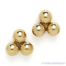 14kt Solid Yellow White Gold Stud Earrings Polished 14k 14 kt 3-Ball Bead Studs