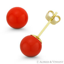 Orange Sea Coral 14k Solid Yellow White Gold Stud Earrings 14kt 14 kt Ball Studs