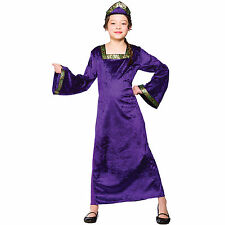 Girls Purple Medieval Princess Costume Fancy Dress Up Party Halloween Outfit Kid