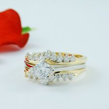 1 CARAT ROUND GOLD EP WEDDING ENGAGEMENT RING SET SIZE 5 6 7 8 9 10 FREE BOX