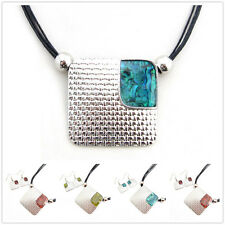 Buy 2 Get 1 Free, Coloured Glaze Silver Plated Square Pendant Earrings Set XC149