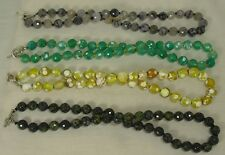 hand knot 10mm agate bead necklace/emerald, yellow.green, granite (w2)