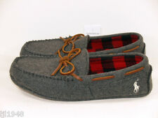 Polo Ralph Lauren Gray Flannel Moccasin Slipper Polo Pony  10 11 12 NWT