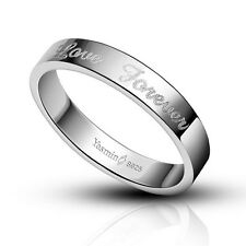 1 PCS Solid Sterling Silver LOVE FOREVER Band Ring Comfort Fit Size 4-10 S#003