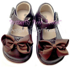 Girls Squeaky Shoes Brown NEW Unique ADD-A-BOW Design U-Choose Bow or Wear Plain
