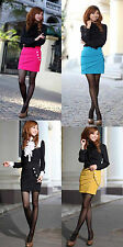 Womens Solid Pleated OL Tight Fitted Hip Package Skirt Bodycon Short Mini Dress