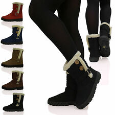 D4Z LADIES WOMENS RUBBER SOLE SNOW FUR LINED BAILEY 2 BUTTON ANKLE BOOTS SHOES