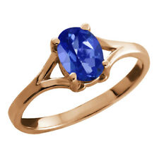 0.95 Ct Oval Blue Sapphire Mystic Topaz Rose Gold Plated Silver Ring