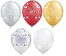 """Pack of 6 x Happy Anniversary 11"""" Latex Balloons (Silver, Ruby, Golden+) Helium"""