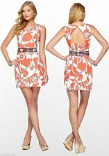 $188 Lilly Pulitzer Kirkland Tango Orange booze Cruize Jacquard Shift Dress