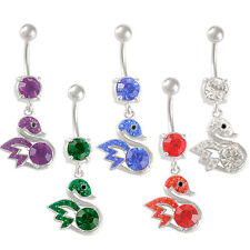 dangle navel bars surgical steel belly button rings crystal button balls 9SBN