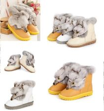 Womens Luxury Lace-up Genuine Leather Real Fox Fur Flat Winter Snug Snow Boots