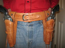 Gun Belt Rig with Left & Right Tooled Holster- Natural- Leather - Sizes 34 to 52