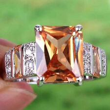 Noble Morganite & White Topaz Gemstones Silver Ring Size 7 8 9 10 Free Ship