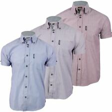 Mens Lambretta Chambray Stripe Shirt Button Down Collar Short Sleeves