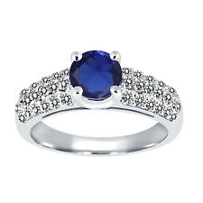 1.46 Ct Round Blue Simulated Sapphire White Diamond 925 Sterling Silver Ring