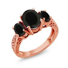 2.41 Ct Oval Black AAA Onyx 14K Rose Gold 3-Stone Ring