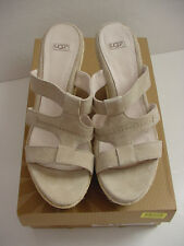 NIB UGG Australia Tawnie Wedge Slip On Sandal Cream Beige 1000404 Womens Sz 9.5