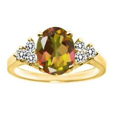 2.50 Ct Oval Mango Mystic Topaz White Diamond 14K Yellow Gold Ring