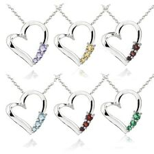Sterling Silver Three Stone Gemstone Floating Heart Necklace - 6 Colors