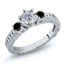 0.74 Ct Round G/H and Black Diamond 925 Sterling Silver 3-Stone Ring