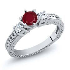 0.84 Ct Round Red Ruby White Topaz 14K White Gold 3-Stone Ring